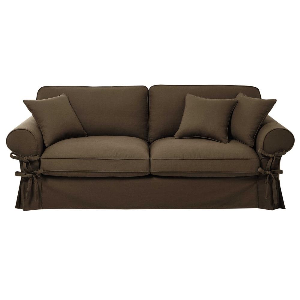 canap convertible 3 4 places en coton taupe matelas 6 cm. Black Bedroom Furniture Sets. Home Design Ideas