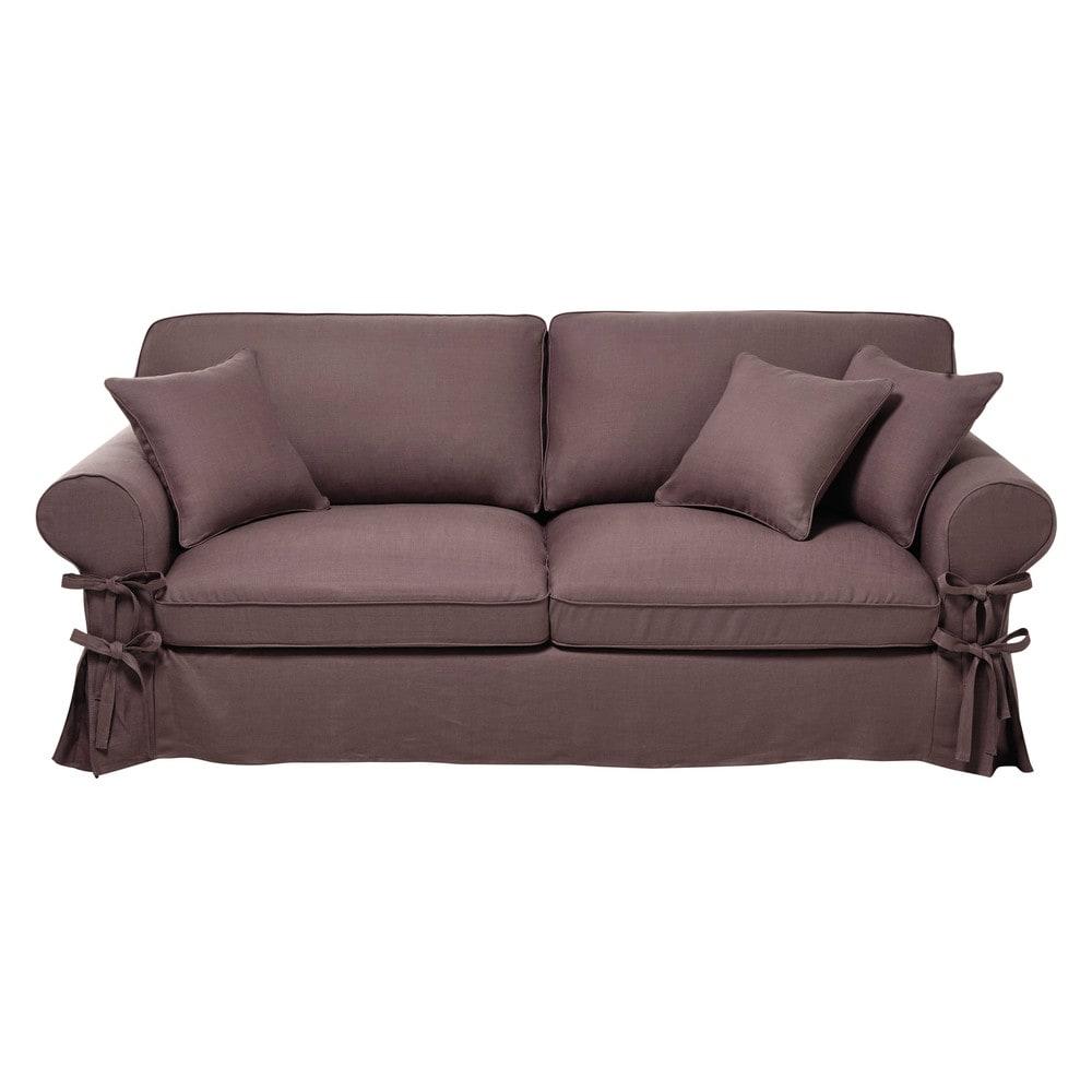 canap convertible 3 4 places en lin vieux mauve butterfly. Black Bedroom Furniture Sets. Home Design Ideas