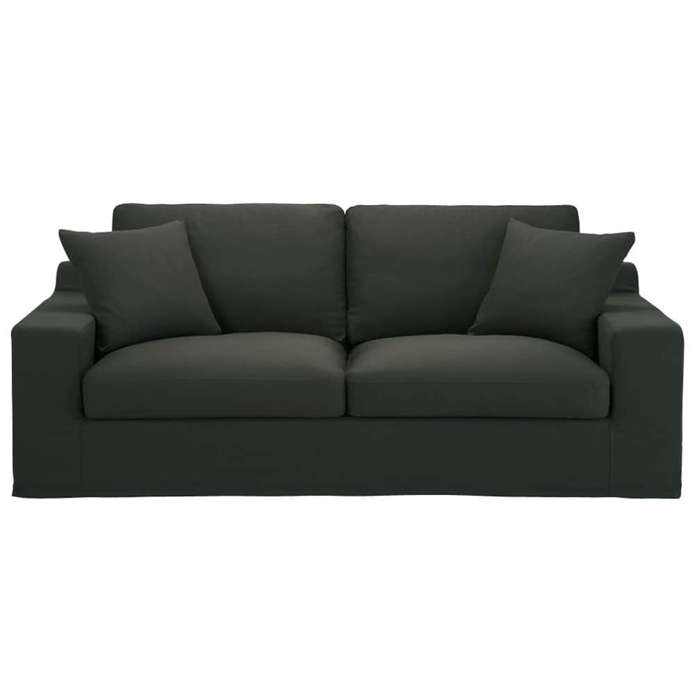 canap convertible 3 places en coton anthracite stuart maisons du monde. Black Bedroom Furniture Sets. Home Design Ideas