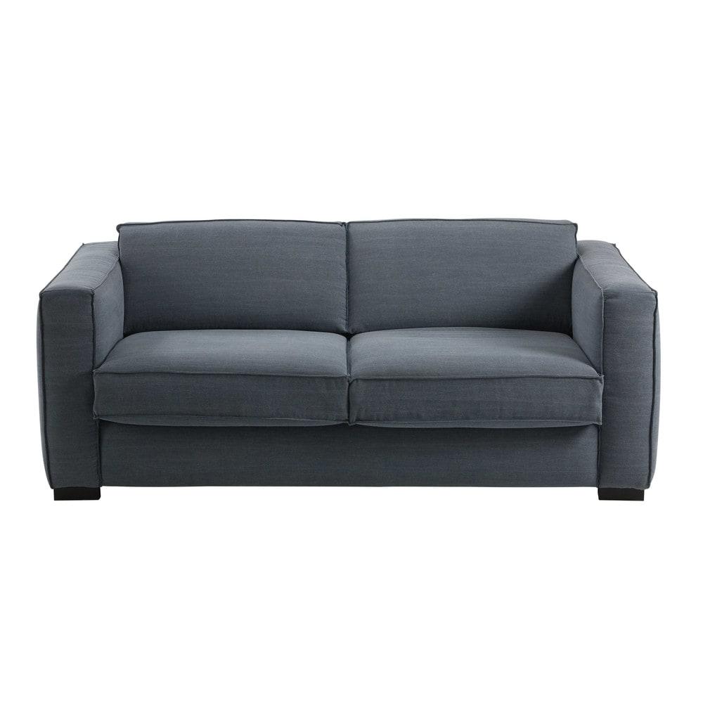 canap convertible 3 places en coton bleu gris berlin. Black Bedroom Furniture Sets. Home Design Ideas