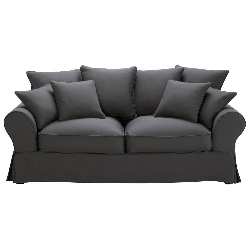 canap convertible 3 places en coton gris ardoise bastide. Black Bedroom Furniture Sets. Home Design Ideas