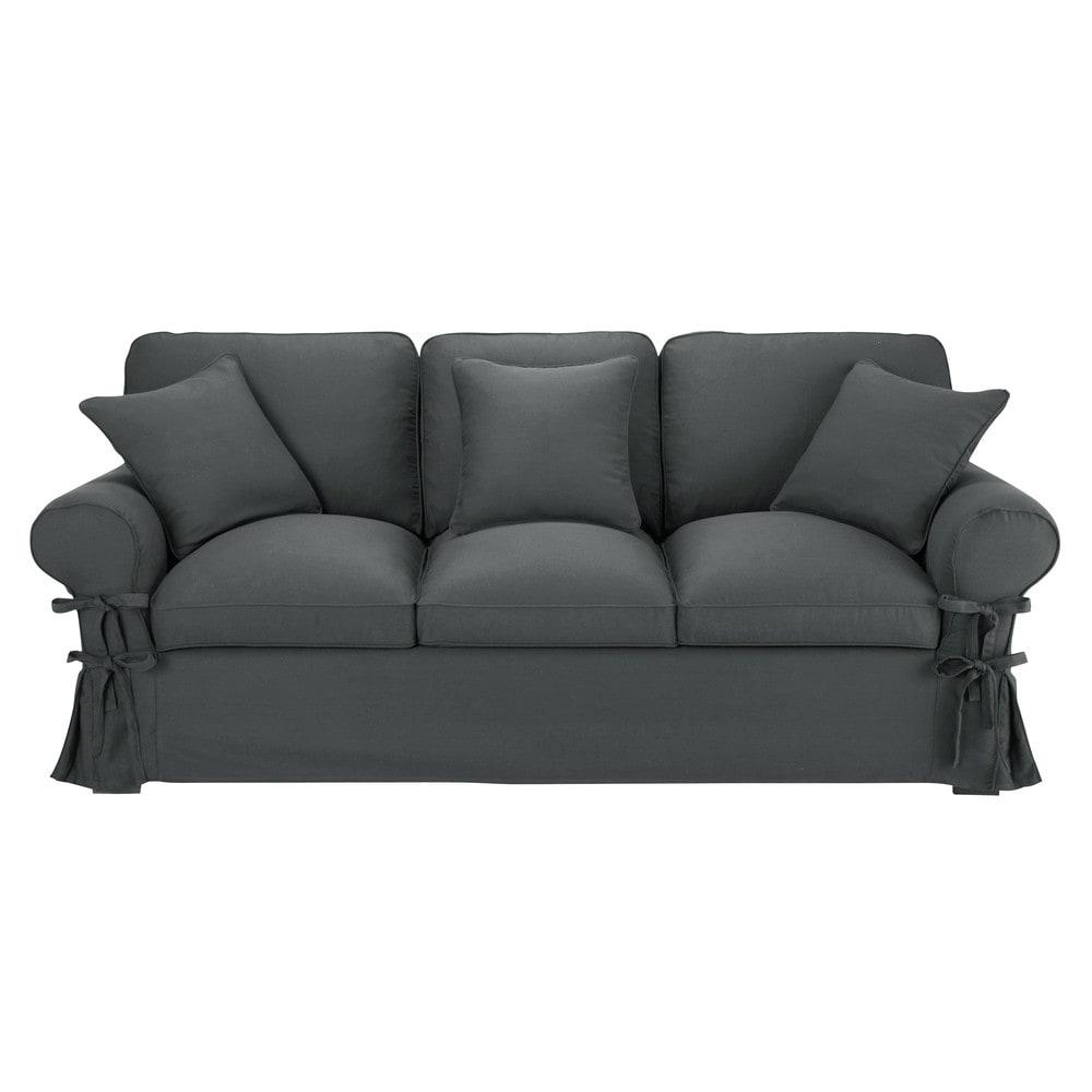 Canap convertible 3 places en coton gris ardoise for Divano materasso maison du monde
