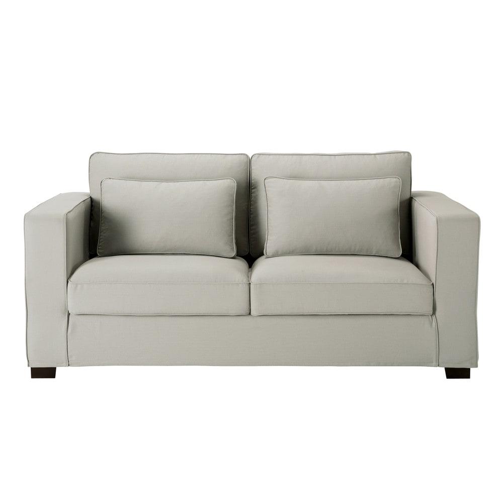 canap convertible 3 places en coton gris clair milano maisons du monde. Black Bedroom Furniture Sets. Home Design Ideas