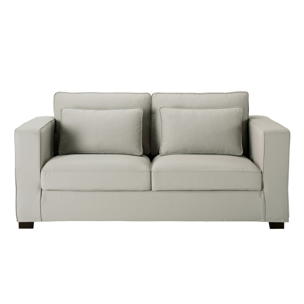 canap convertible 3 places en coton gris clair milano. Black Bedroom Furniture Sets. Home Design Ideas