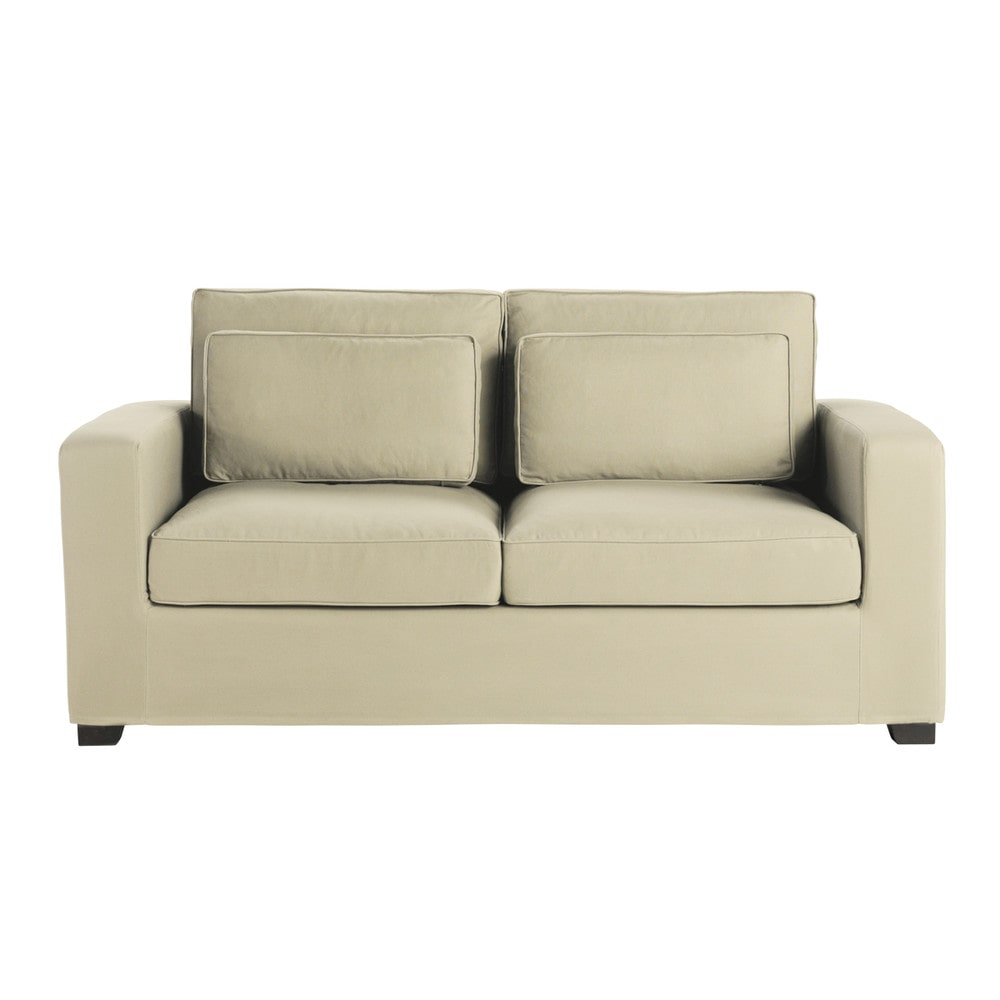 canap convertible 3 places en coton mastic matelas 6 cm milano maisons du monde. Black Bedroom Furniture Sets. Home Design Ideas
