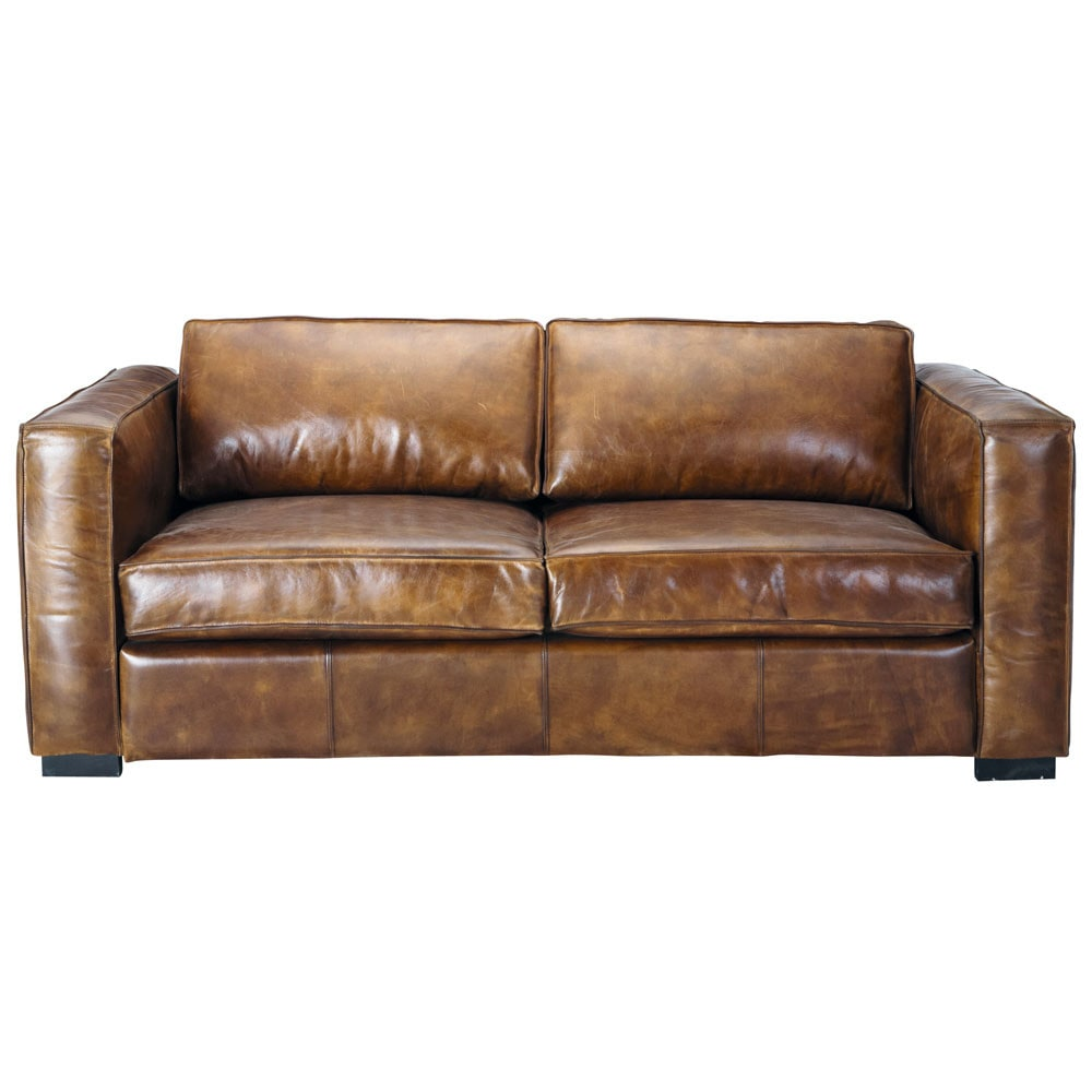 canap convertible 3 places en cuir marron vieilli berlin. Black Bedroom Furniture Sets. Home Design Ideas