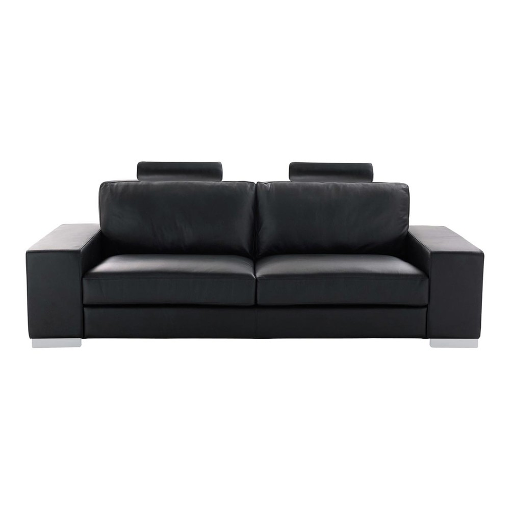canap convertible 3 places en cuir noir daytona maisons du monde. Black Bedroom Furniture Sets. Home Design Ideas