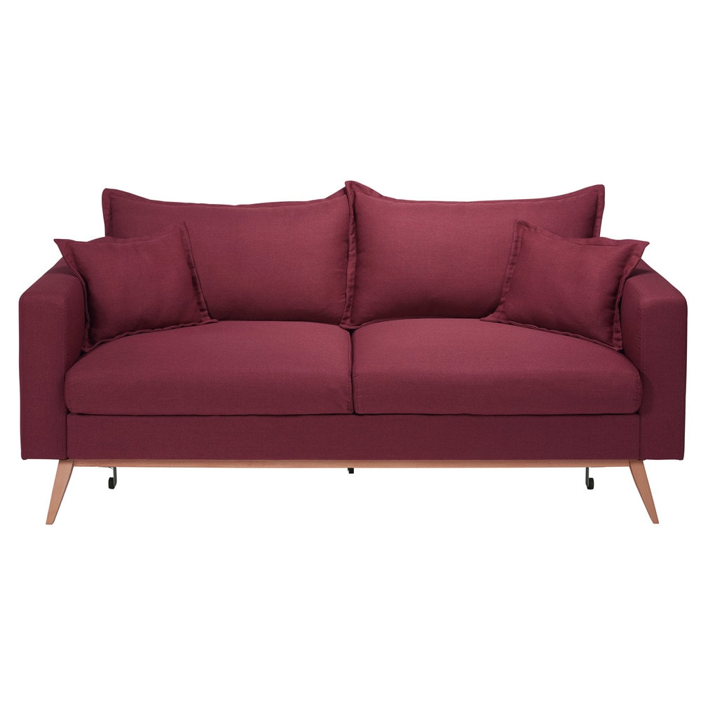 Canap convertible 3 places en tissu bordeaux duke for Canape 5 place convertible