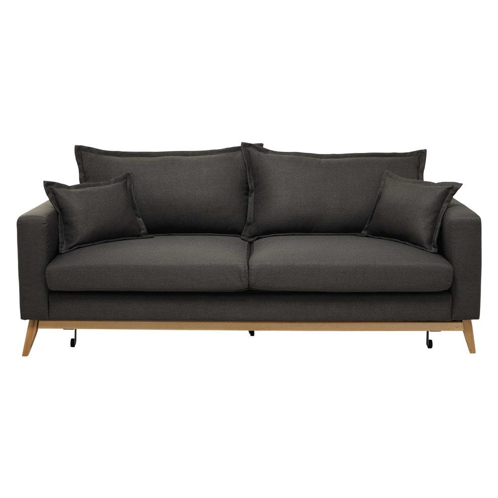 canap convertible 3 places en tissu brun gris duke maisons du monde. Black Bedroom Furniture Sets. Home Design Ideas