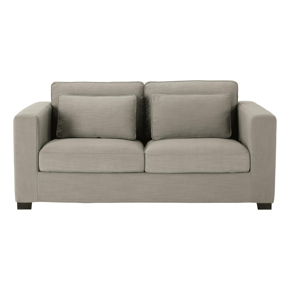 canap convertible 3 places en tissu monet gris clair matelas 6 cm milano maisons du monde. Black Bedroom Furniture Sets. Home Design Ideas