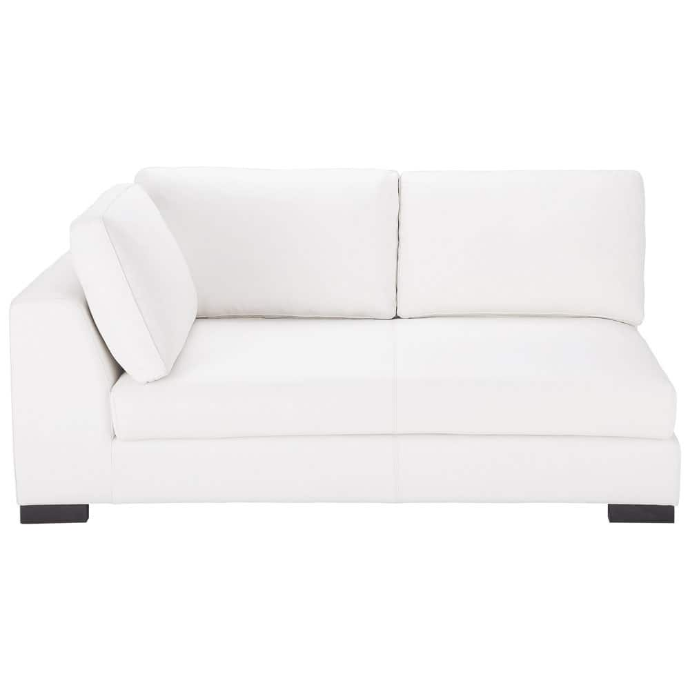 canap convertible modulable gauche en cuir blanc terence maisons du monde. Black Bedroom Furniture Sets. Home Design Ideas