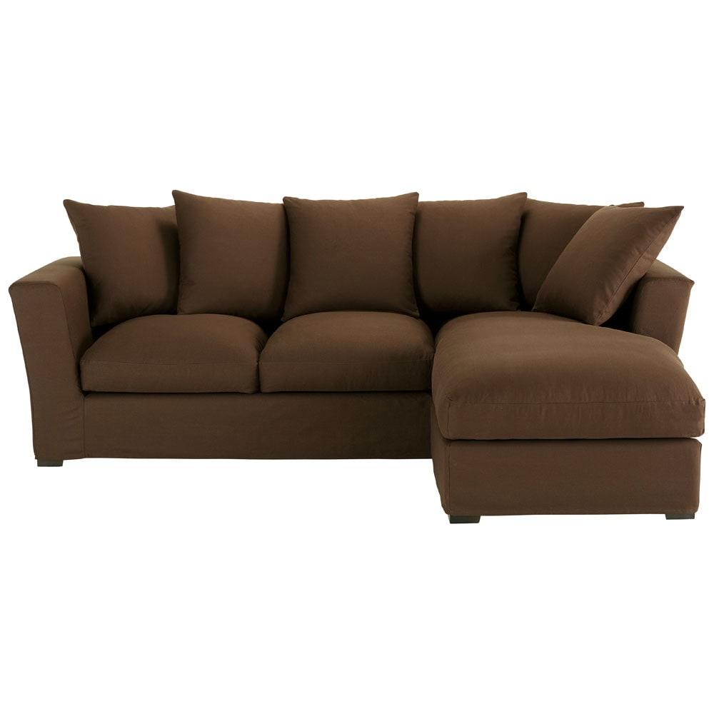 canap d 39 angle 5 places en coton chocolat bruxelles maisons du monde. Black Bedroom Furniture Sets. Home Design Ideas