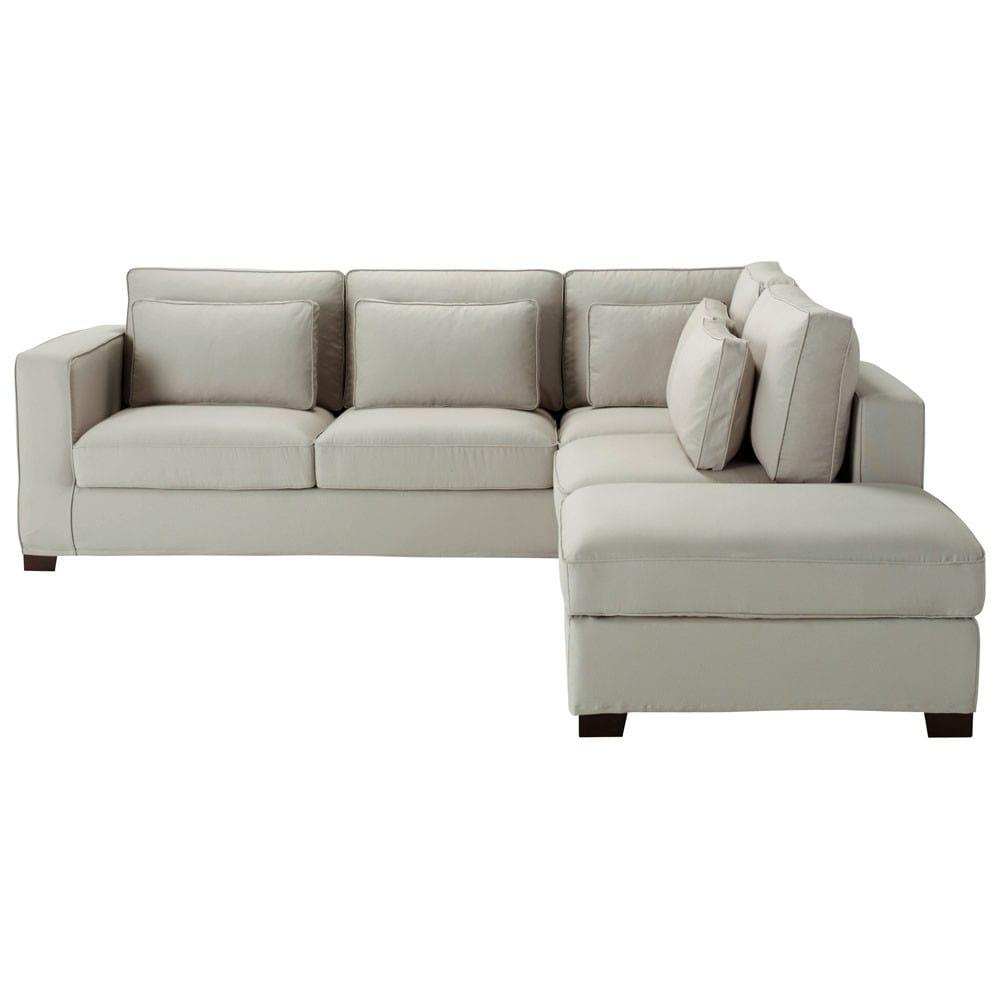 canap d 39 angle 5 places en coton gris clair milano. Black Bedroom Furniture Sets. Home Design Ideas