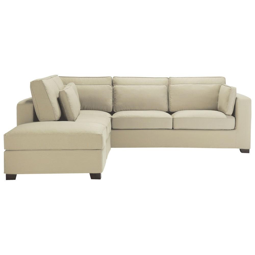 canap d 39 angle 5 places en coton mastic milano maisons. Black Bedroom Furniture Sets. Home Design Ideas