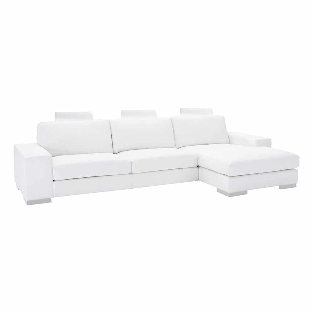 canap d 39 angle 5 places en cuir blanc daytona maisons du monde. Black Bedroom Furniture Sets. Home Design Ideas