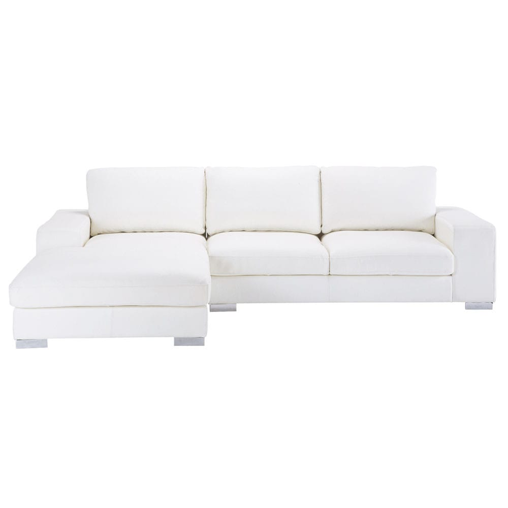 Canap d 39 angle 5 places en cuir blanc new york maisons for Canape convertible cuir blanc