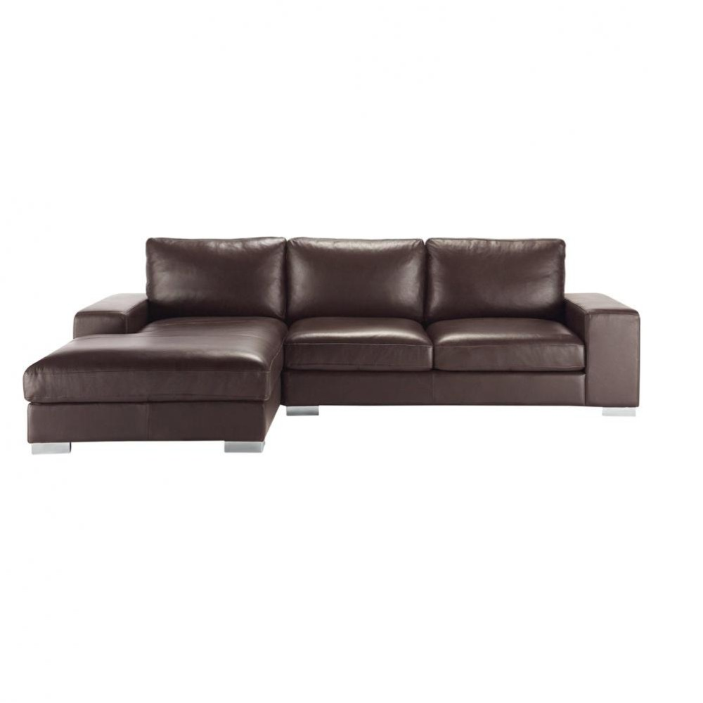 Canap d 39 angle 5 places en cuir marron new york maisons du monde - Canape angle cuir marron ...