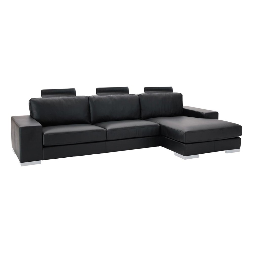 canap d 39 angle 5 places en cuir noir daytona maisons du monde. Black Bedroom Furniture Sets. Home Design Ideas
