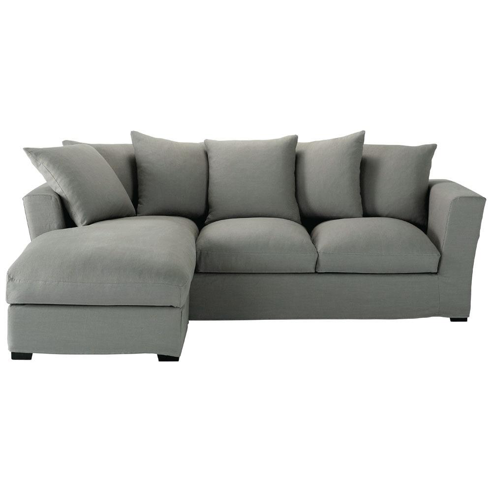 canap d 39 angle 5 places en lin gris bruxelles maisons du monde. Black Bedroom Furniture Sets. Home Design Ideas