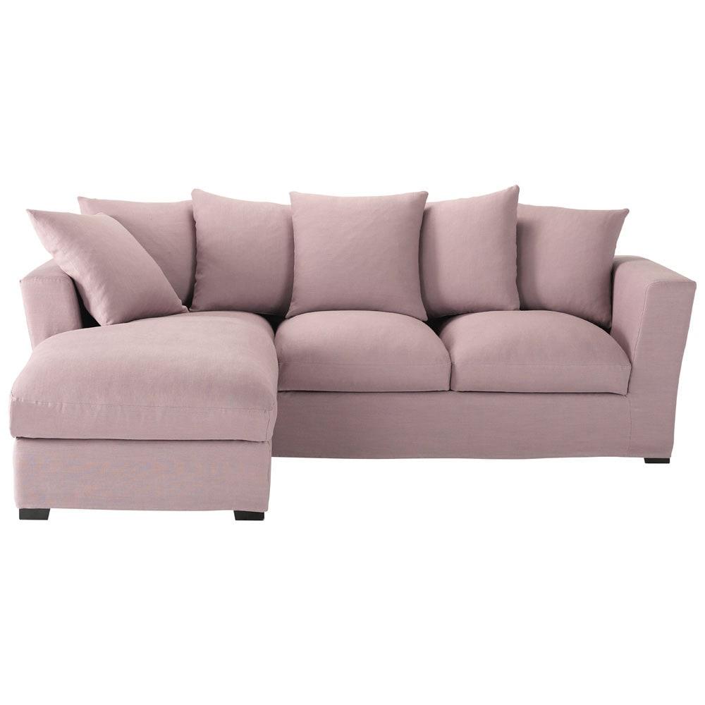 canap d 39 angle 5 places en lin mauve bruxelles maisons du monde. Black Bedroom Furniture Sets. Home Design Ideas