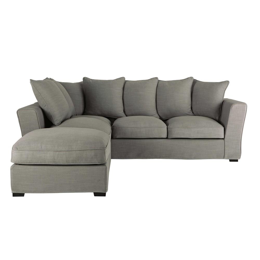 canap d 39 angle 5 places en lin monet gris clair balthazar. Black Bedroom Furniture Sets. Home Design Ideas