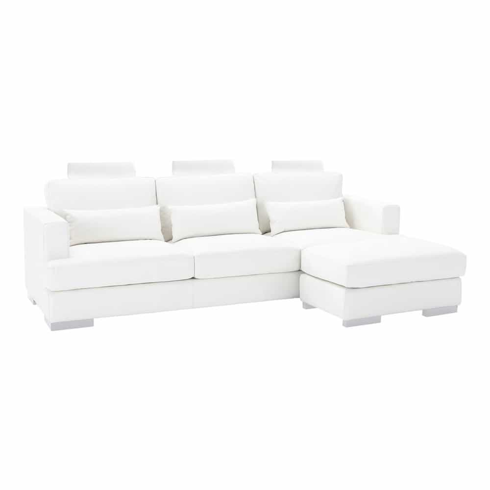 Canap d 39 angle 5 places fixe cuir blanc orlando maisons du monde - Canape d angle 5 places cuir ...