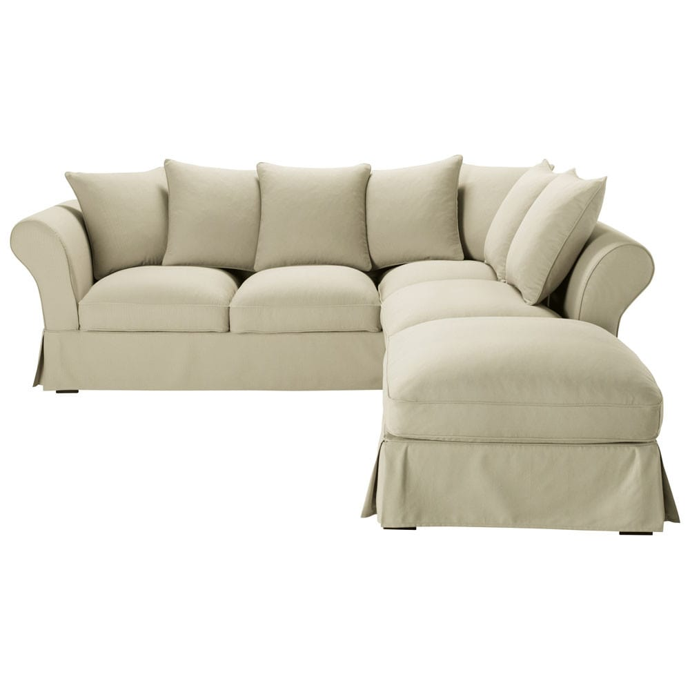 canap d 39 angle 6 places en coton mastic roma maisons du monde. Black Bedroom Furniture Sets. Home Design Ideas