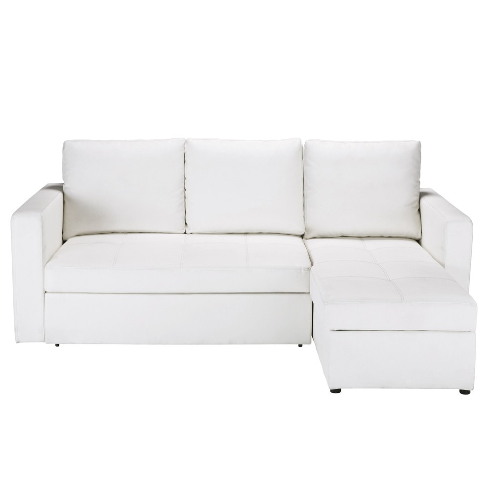 Canap d 39 angle convertible 3 places blanc toronto for Monsieur meuble canape cuir blanc