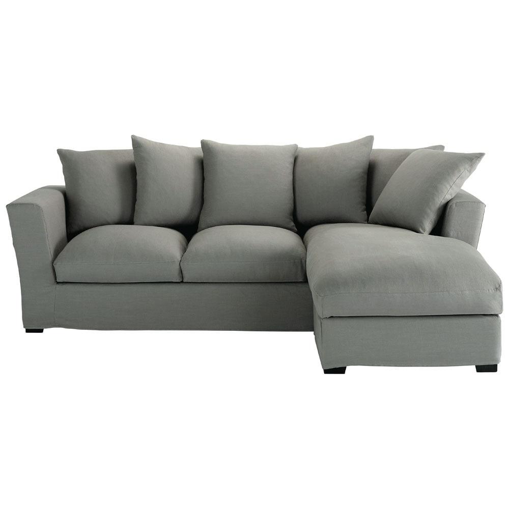 canap d 39 angle convertible 5 places en lin gris clair bruxelles maisons du monde. Black Bedroom Furniture Sets. Home Design Ideas