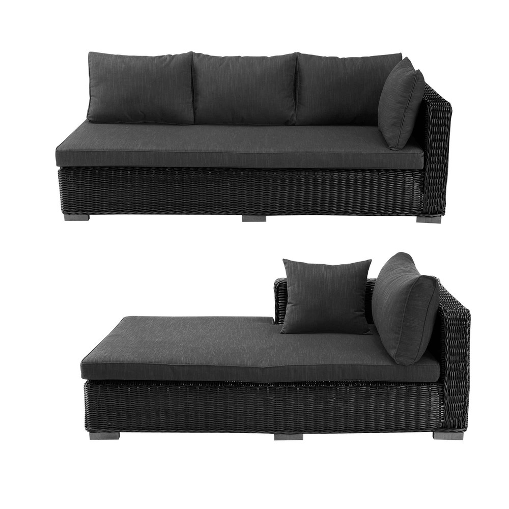canap d 39 angle d 39 ext rieur en r sine tress e noire cendre. Black Bedroom Furniture Sets. Home Design Ideas