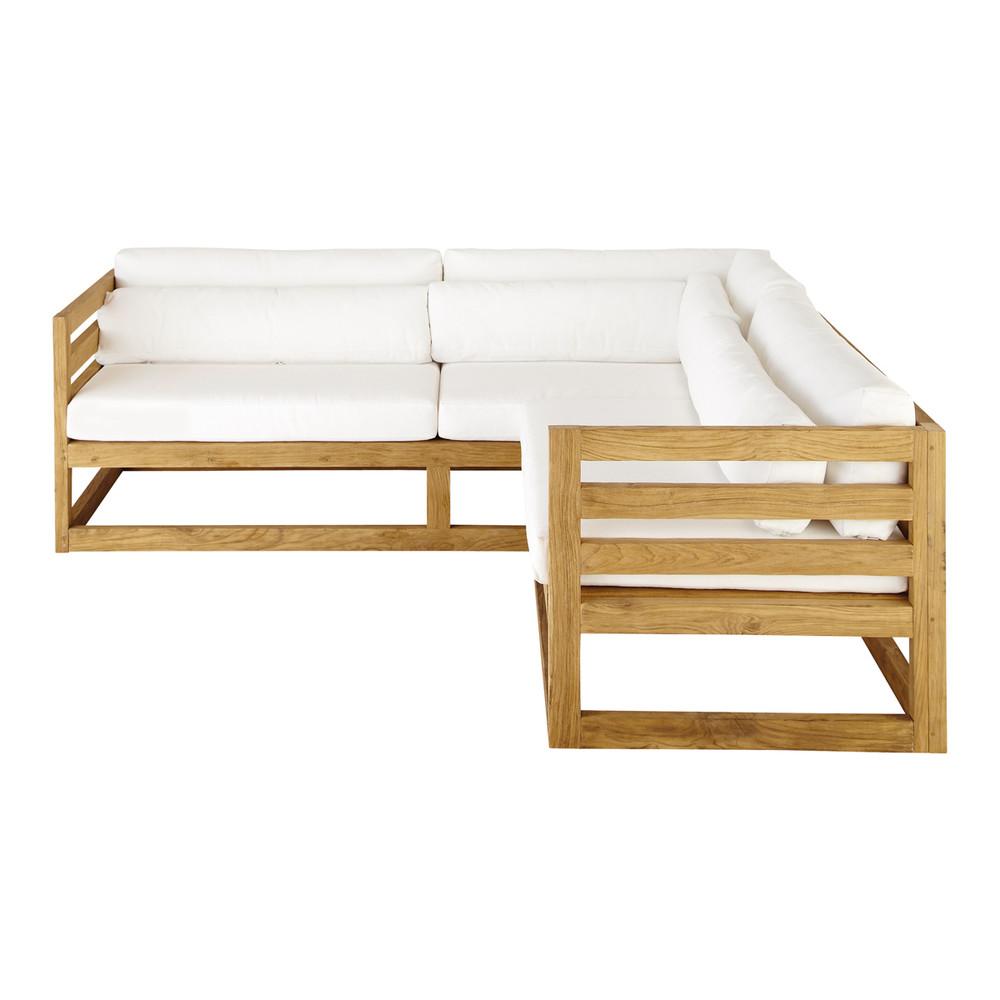 Canapé d\'angle de jardin 3/4 places en teck Cyclades | Maisons du ...