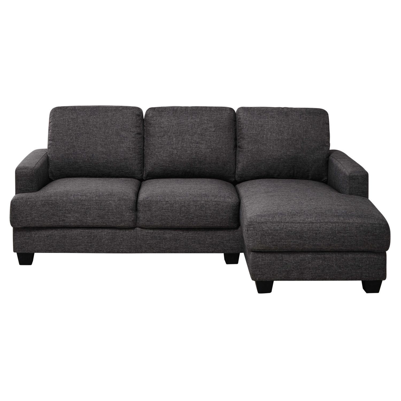 Canapé d\'angle droit 3/4 places gris chiné Philadelphie | Maisons du ...