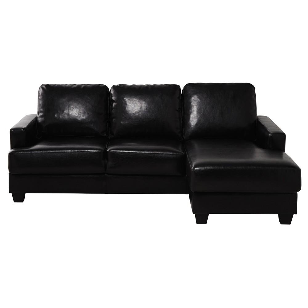 Canap d 39 angle droit 3 4 places imitation cuir noir for Canape imitation cuir vieilli