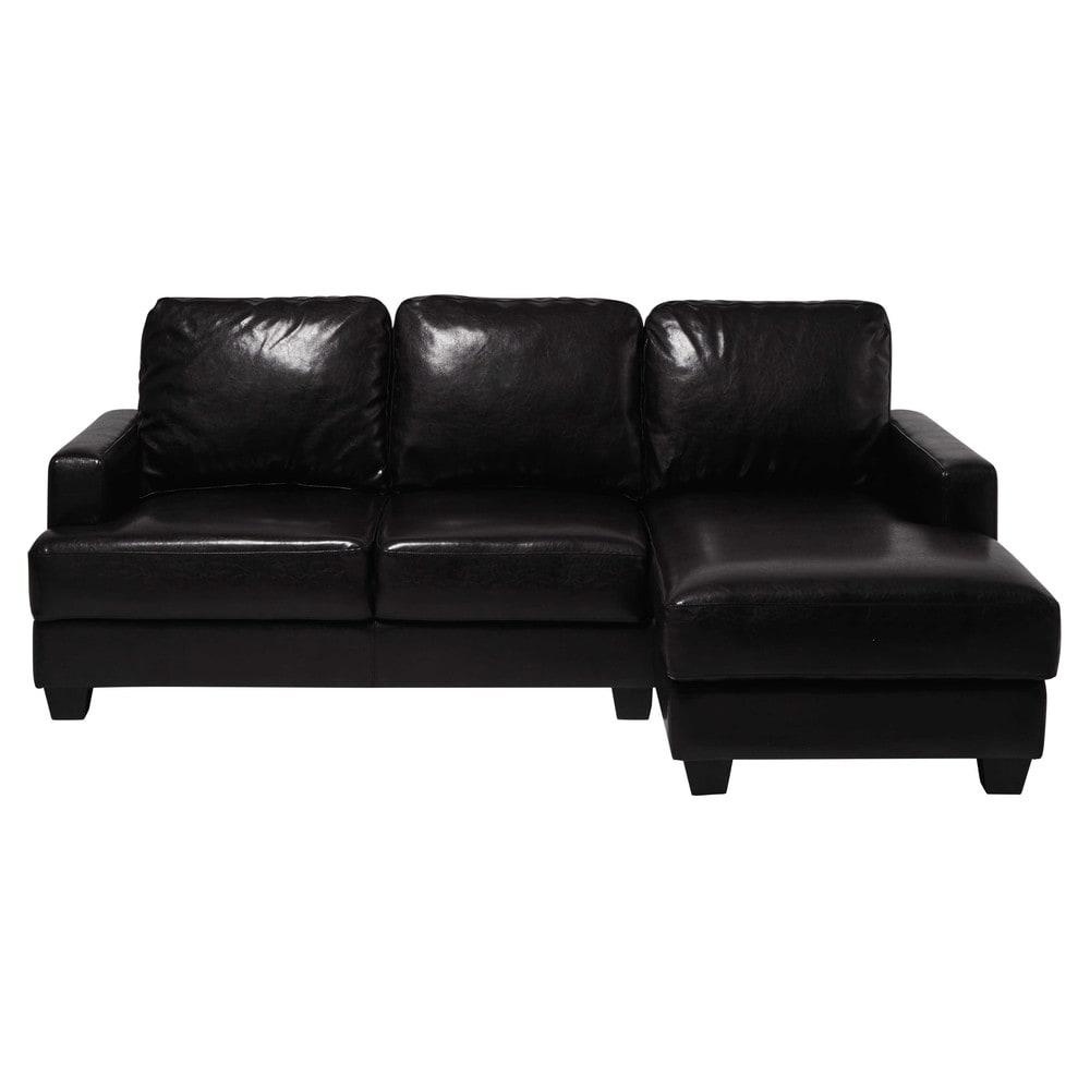 canap d 39 angle droit 3 4 places marron fonc philadelphie. Black Bedroom Furniture Sets. Home Design Ideas