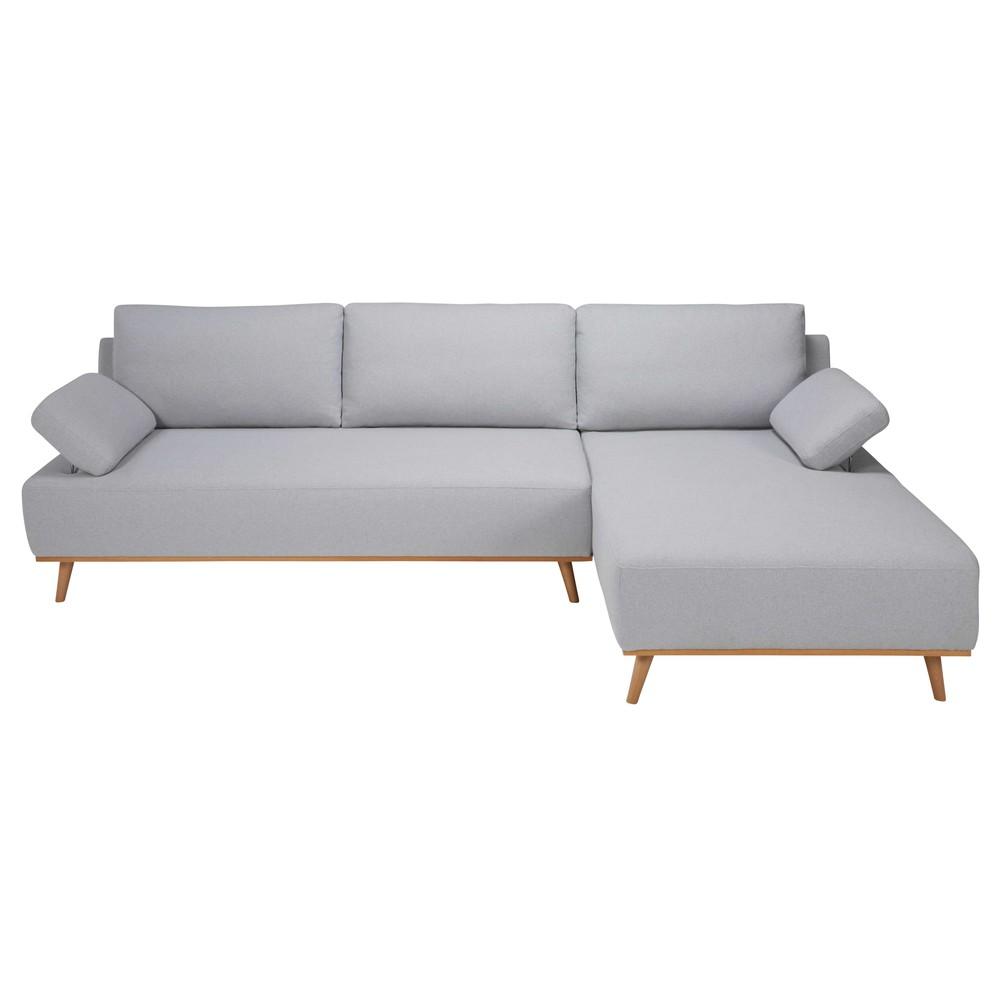 Canap d 39 angle droit 5 places en coton gris clair stone for Canape d angle gris clair