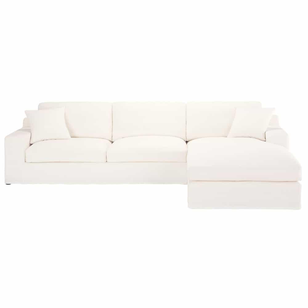 canap d 39 angle droit 5 places en coton ivoire stuart. Black Bedroom Furniture Sets. Home Design Ideas