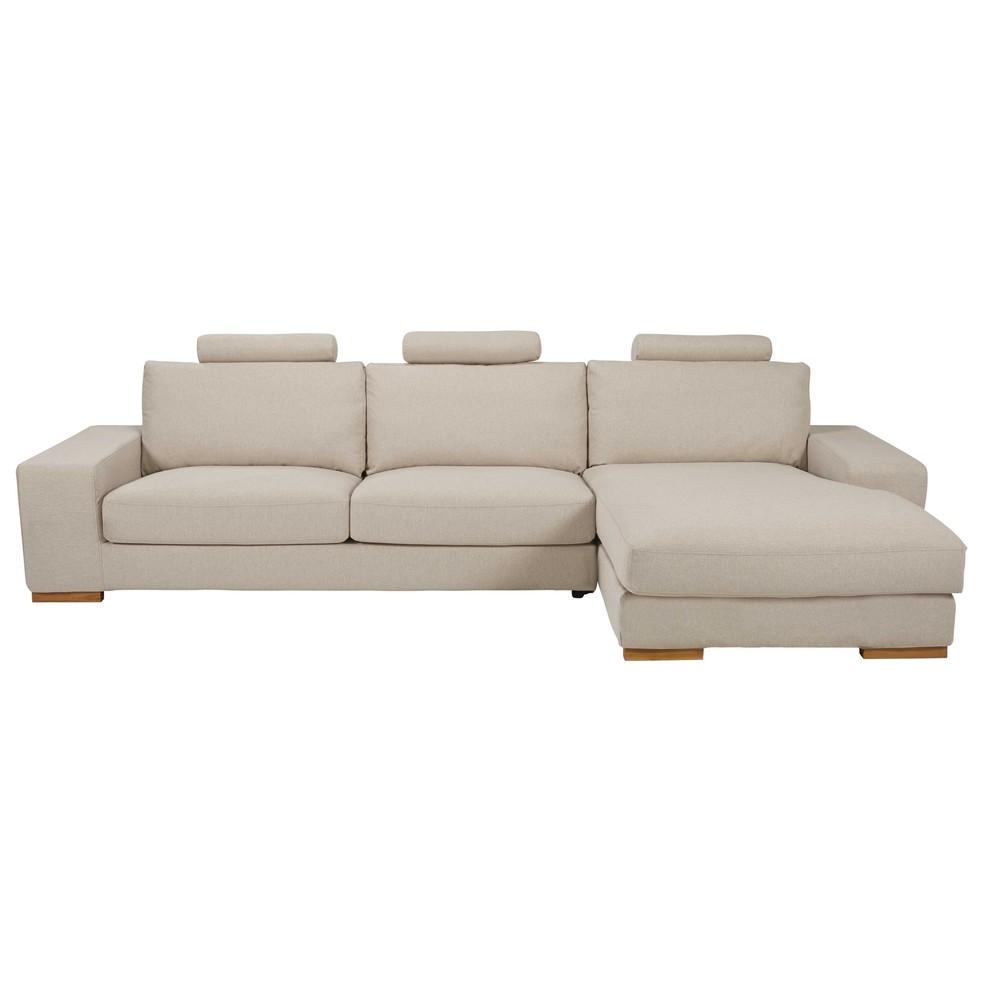 canap d 39 angle droit 5 places en tissu beige chin daytona. Black Bedroom Furniture Sets. Home Design Ideas