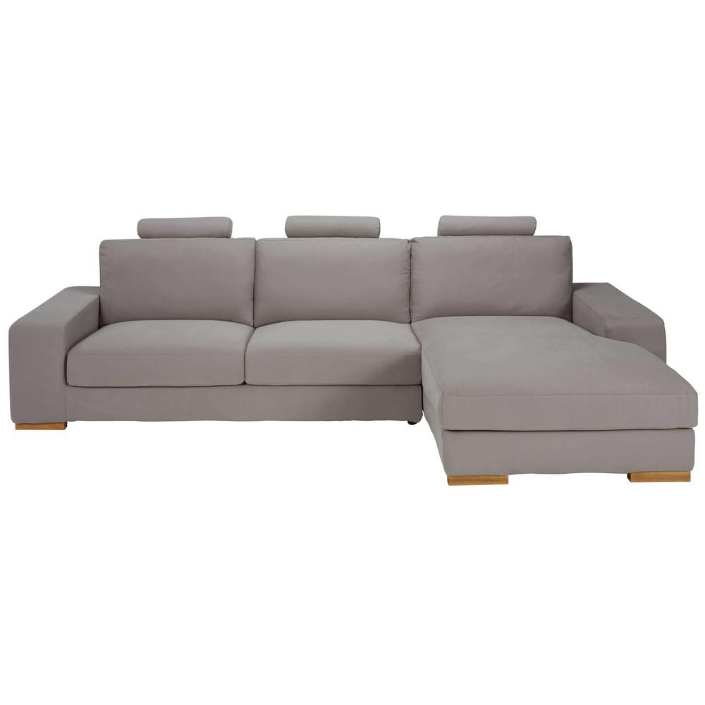 canap d 39 angle droit 5 places en tissu taupe daytona. Black Bedroom Furniture Sets. Home Design Ideas
