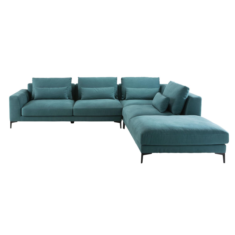 Canapé d\'angle droit 6 places en coton et lin bleu canard Portland ...