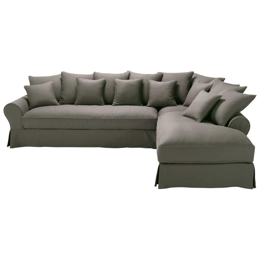 Canap d 39 angle droit 6 places en lin taupe gris bastide - Relooker son canape d angle ...