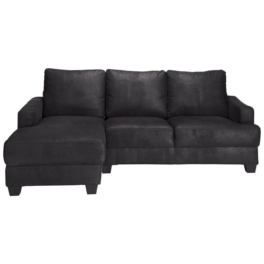canap d 39 angle gauche 3 4 places en microsu de noir. Black Bedroom Furniture Sets. Home Design Ideas
