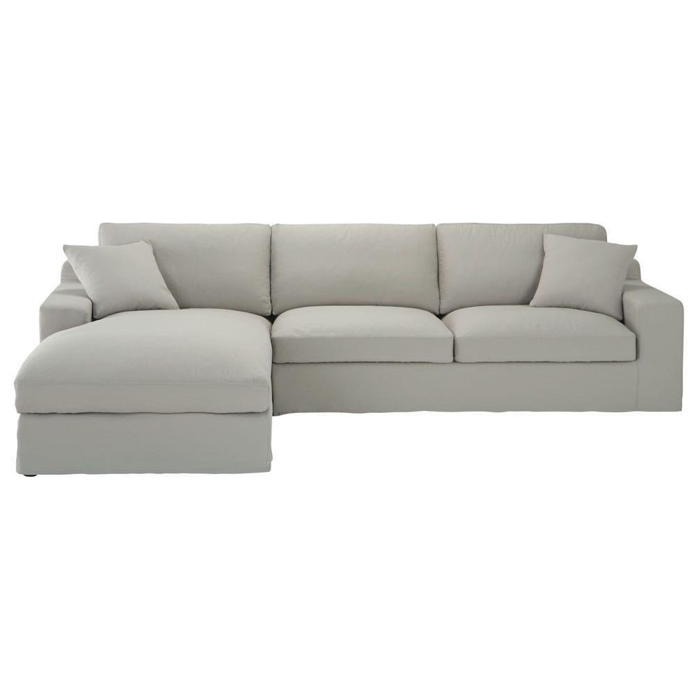 canape d39angle gauche 5 places en coton gris clair stuart With tapis chambre bébé avec canapé d angle en 4 fois sans frais