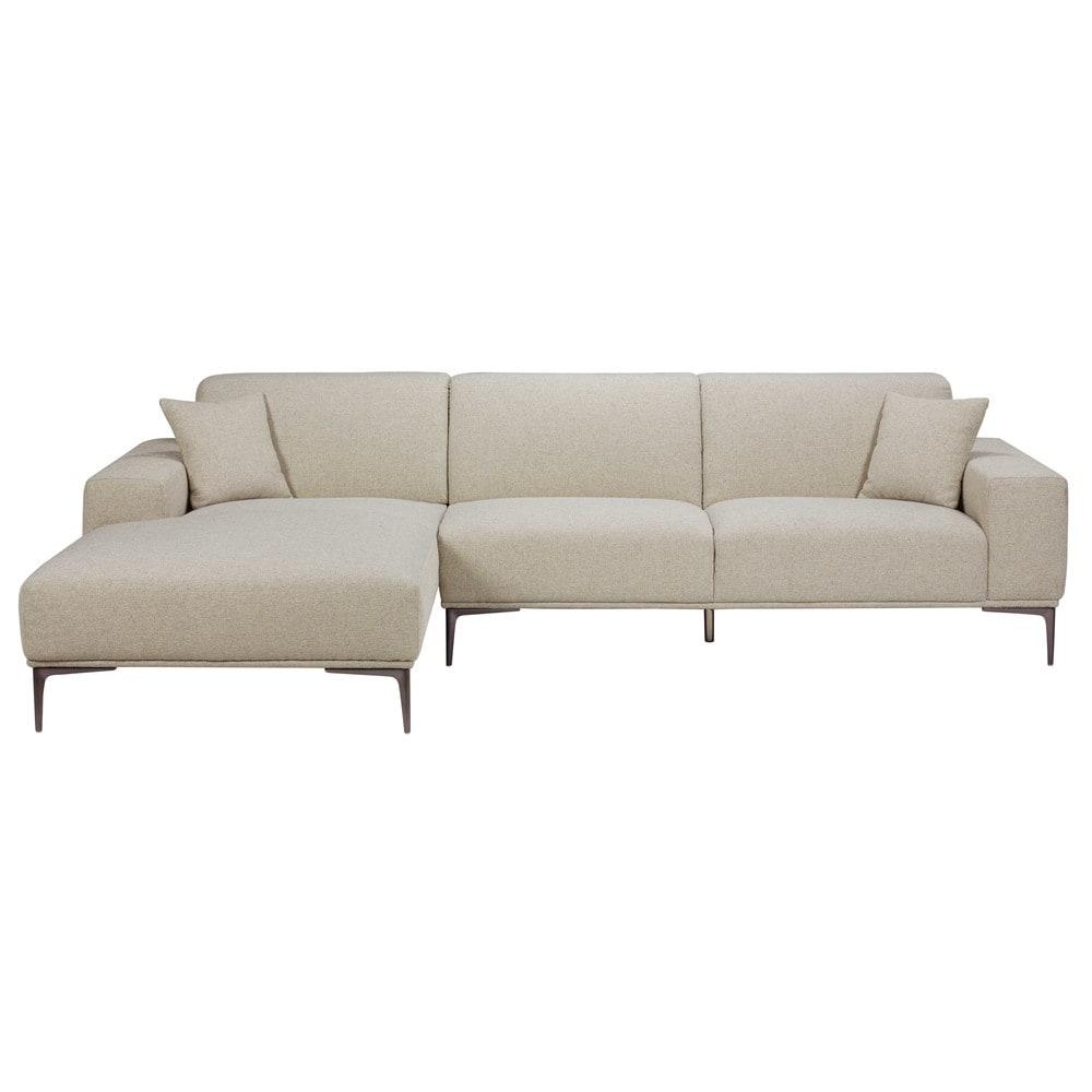 canap d 39 angle gauche 5 places en tissu gris clair chin. Black Bedroom Furniture Sets. Home Design Ideas
