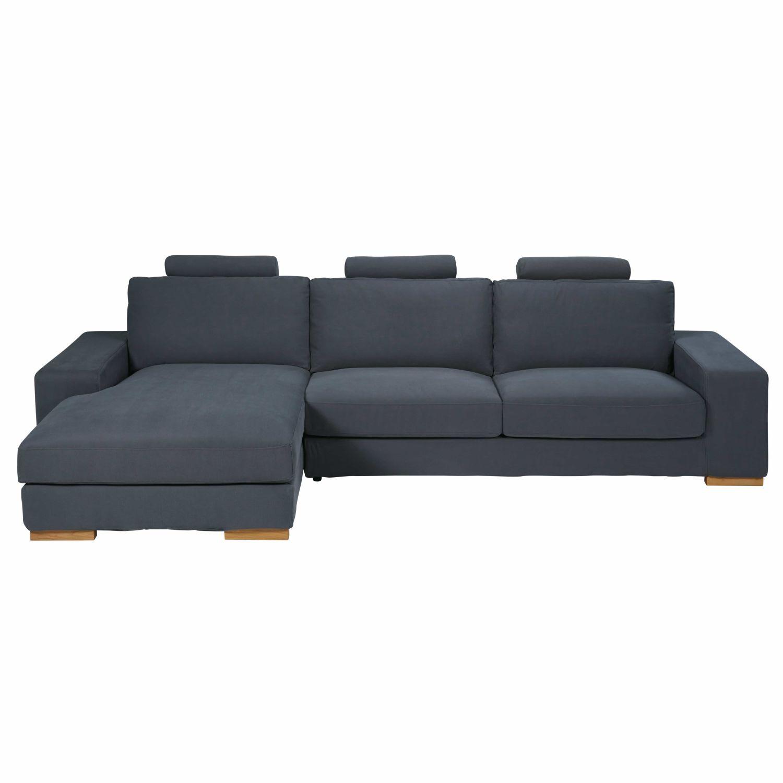 canapé d'angle gauche 5 places en tissu gris foncé daytona   maisons
