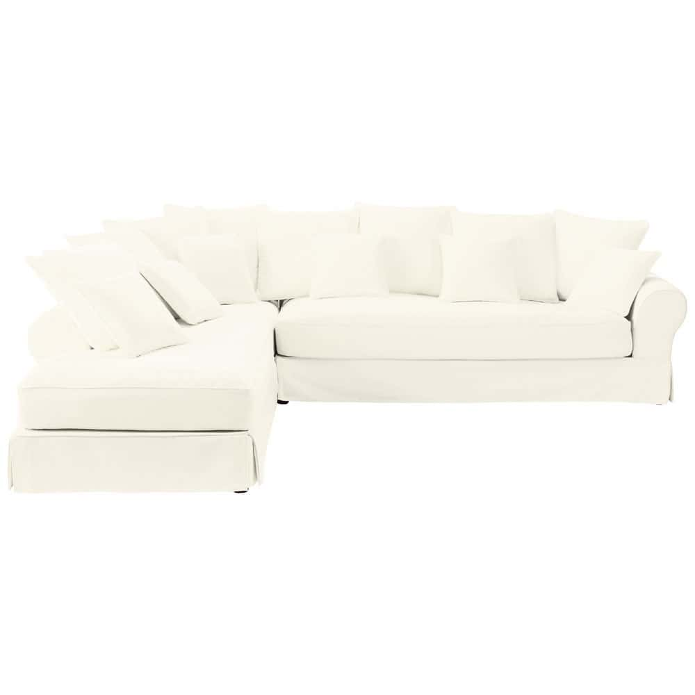 canap d 39 angle gauche 6 places en coton ivoire bastide. Black Bedroom Furniture Sets. Home Design Ideas