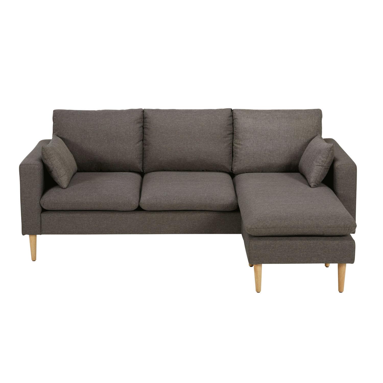 Canapé d\'angle modulable 3/4 places gris chiné Joey | Maisons du Monde