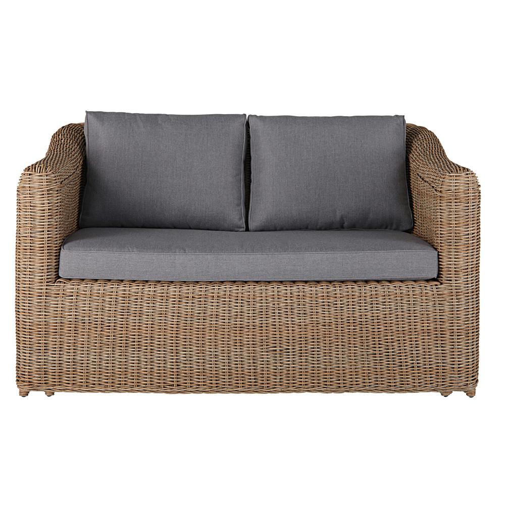 canap de jardin 2 places en r sine tress e et coussins. Black Bedroom Furniture Sets. Home Design Ideas