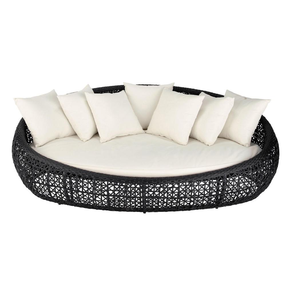 canap de jardin 3 places en r sine tress e noir durban maisons du monde. Black Bedroom Furniture Sets. Home Design Ideas