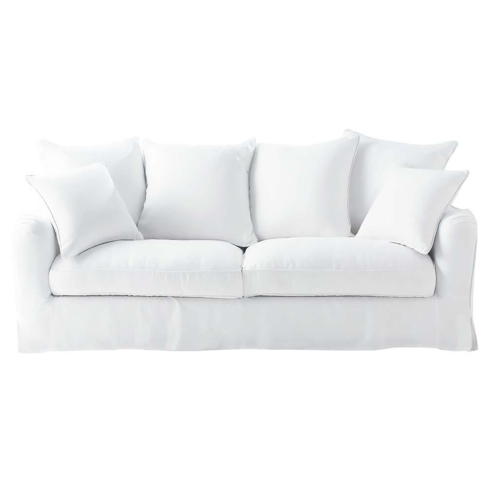 Canap lin blanc 3 places bovary maisons du monde - Canape moelleux 3 places ...