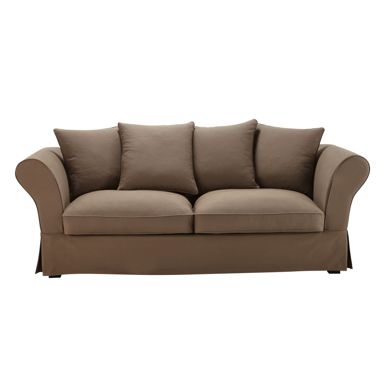 Canapé-lit 3/4 places en coton taupe Roma | Maisons du Monde